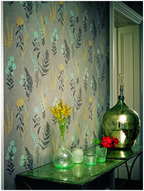 Yellow Blue Grey Floral Wallpaper From Fired Earth Flowershop