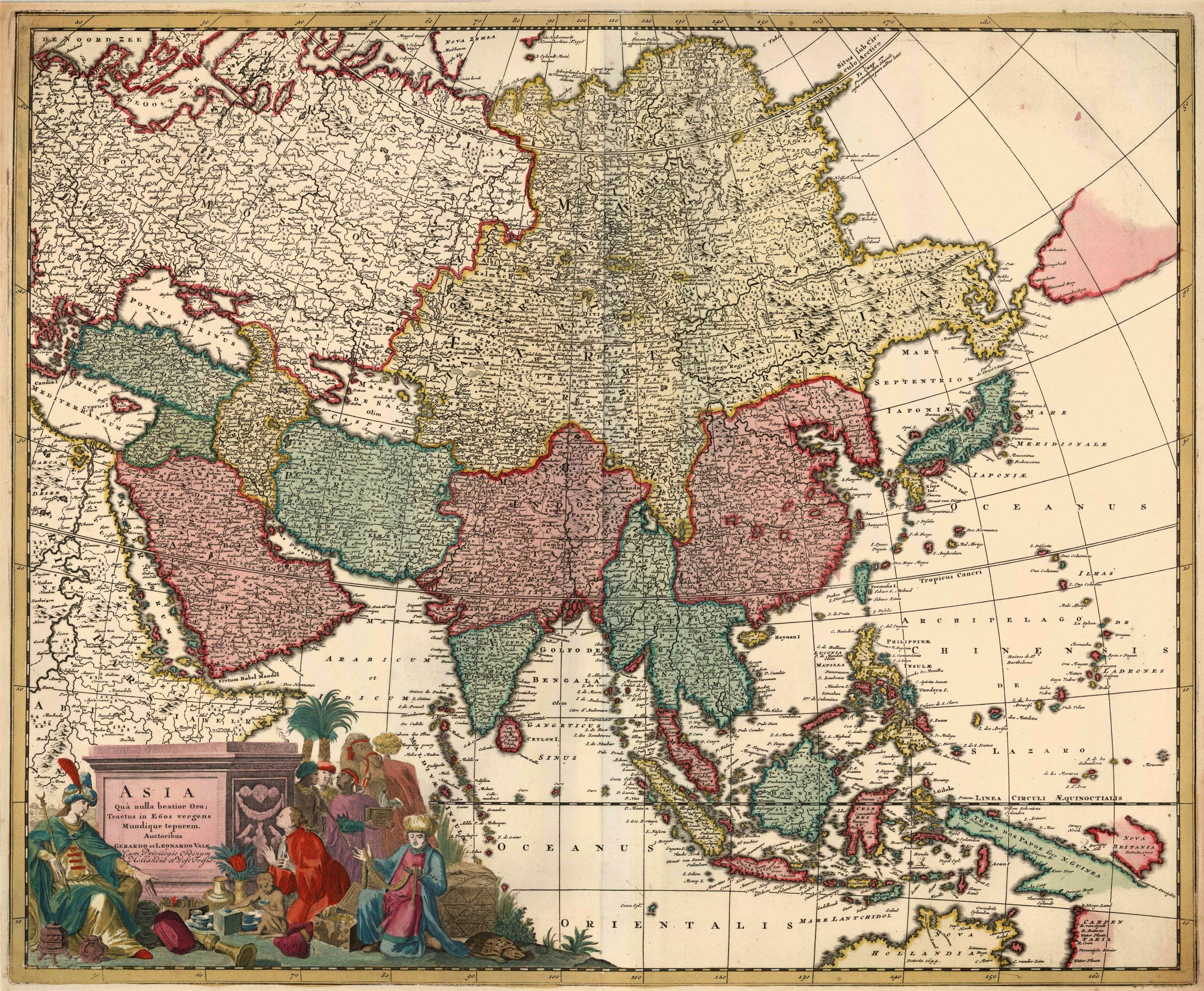 Old antique map of asia by g l valk sanderus antique maps1710 old antique map of asia by g l valk sanderus antique publicscrutiny Gallery