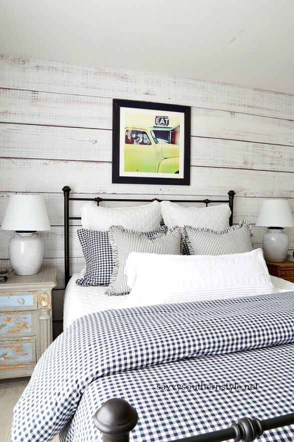 Gingham and Ticking Farmhouse Style Bedroom Without Spending a Dime