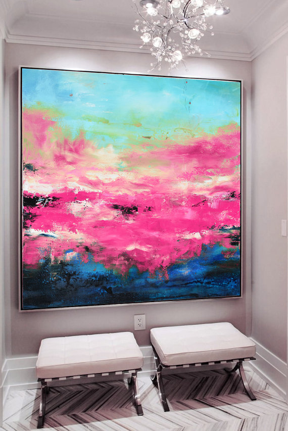 Large Pink Blue Art Abstract Painting Pink Giclee Print