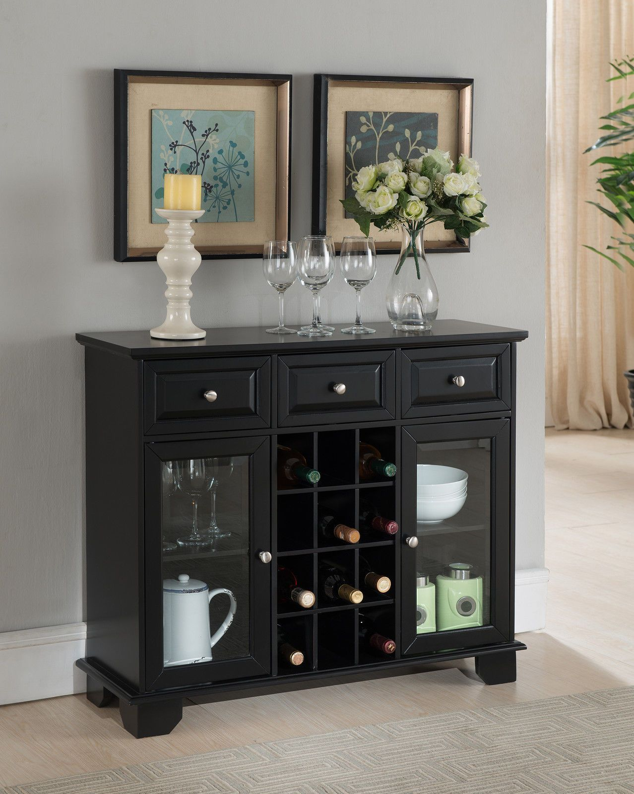 nice Kings Model Buffet Server Sideboard Cupboard with Wine Storage