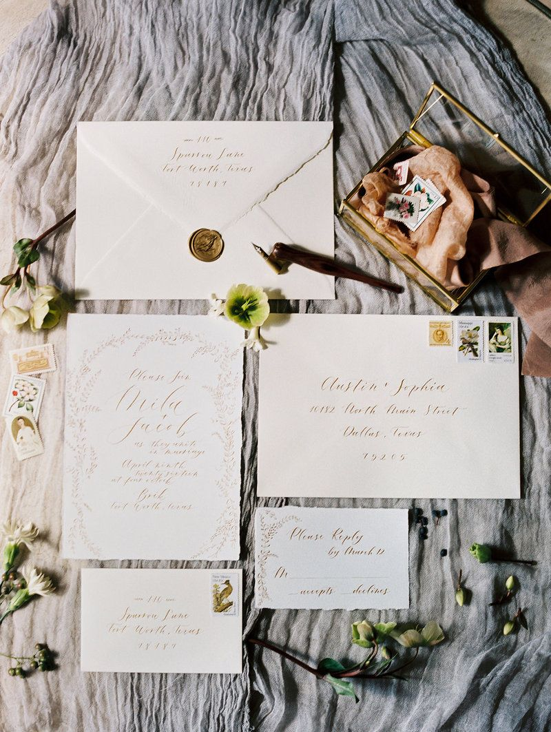 Vintage white wedding invitation by Love Letter Studio for this ...