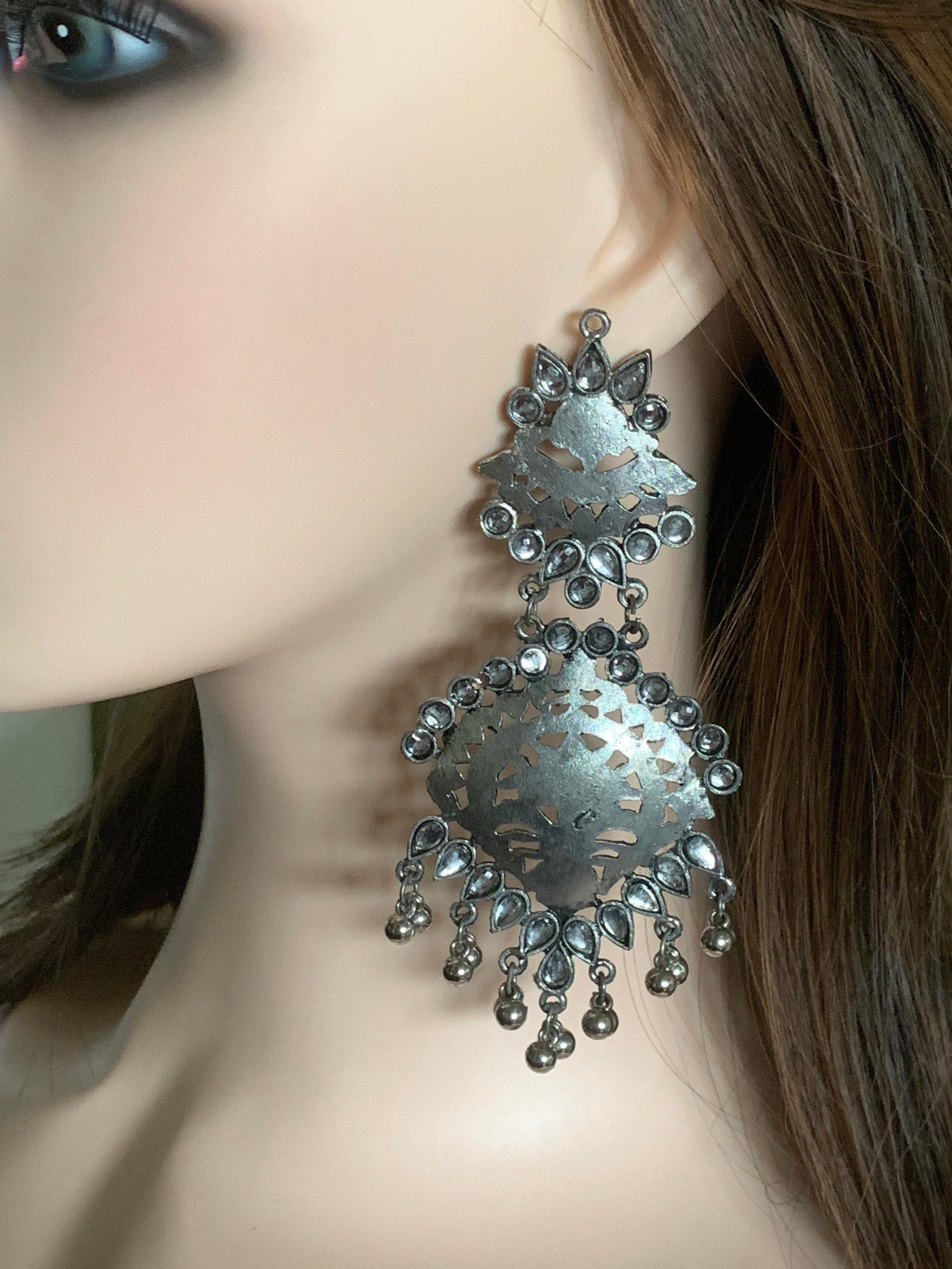 Oxidized Kundan Earrings Indian Jewelry Indian Earrings Tribal Jewelry Boho Jewelry Bollywood Jewelry German Silver Earrings