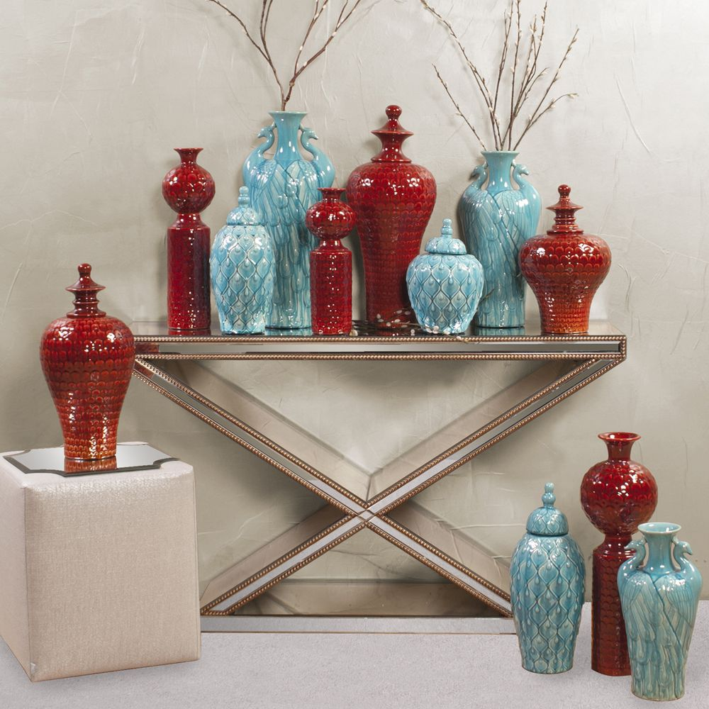 Howard Elliott Scalloped Textured Scarlet Red Vase - Medium