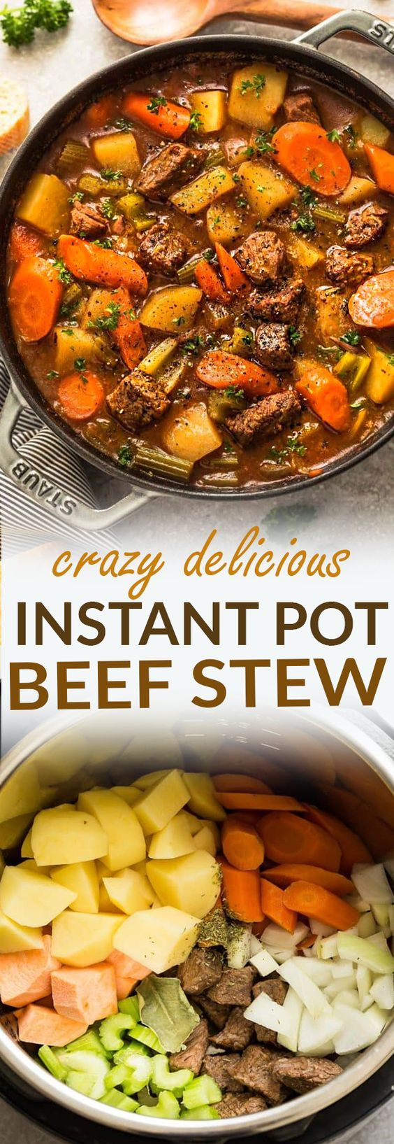 Instant Pot Pressure Cooker Homemade Classic Beef Stew makes the perfect comforting dish on a cold day. Best of all, it's easy to customize and the active cooking time is only 20 minutes on HIGH PRESSURE for the most delicious and tender meat with carrots, potatoes, sweet potatoes and celery. Super comforting for a cozy Sunday and full of amazing flavors that the entire family will love! #beefstew #homemade #comfortfood #stew #winter #fall #cozy #instantpot #instantpotrecipes