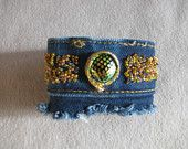 Glass and denim cuff bracelet