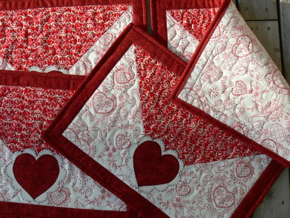 Valentine Quilted Placemat Set Of 4 Placemats Mug Rugs Hot Pads