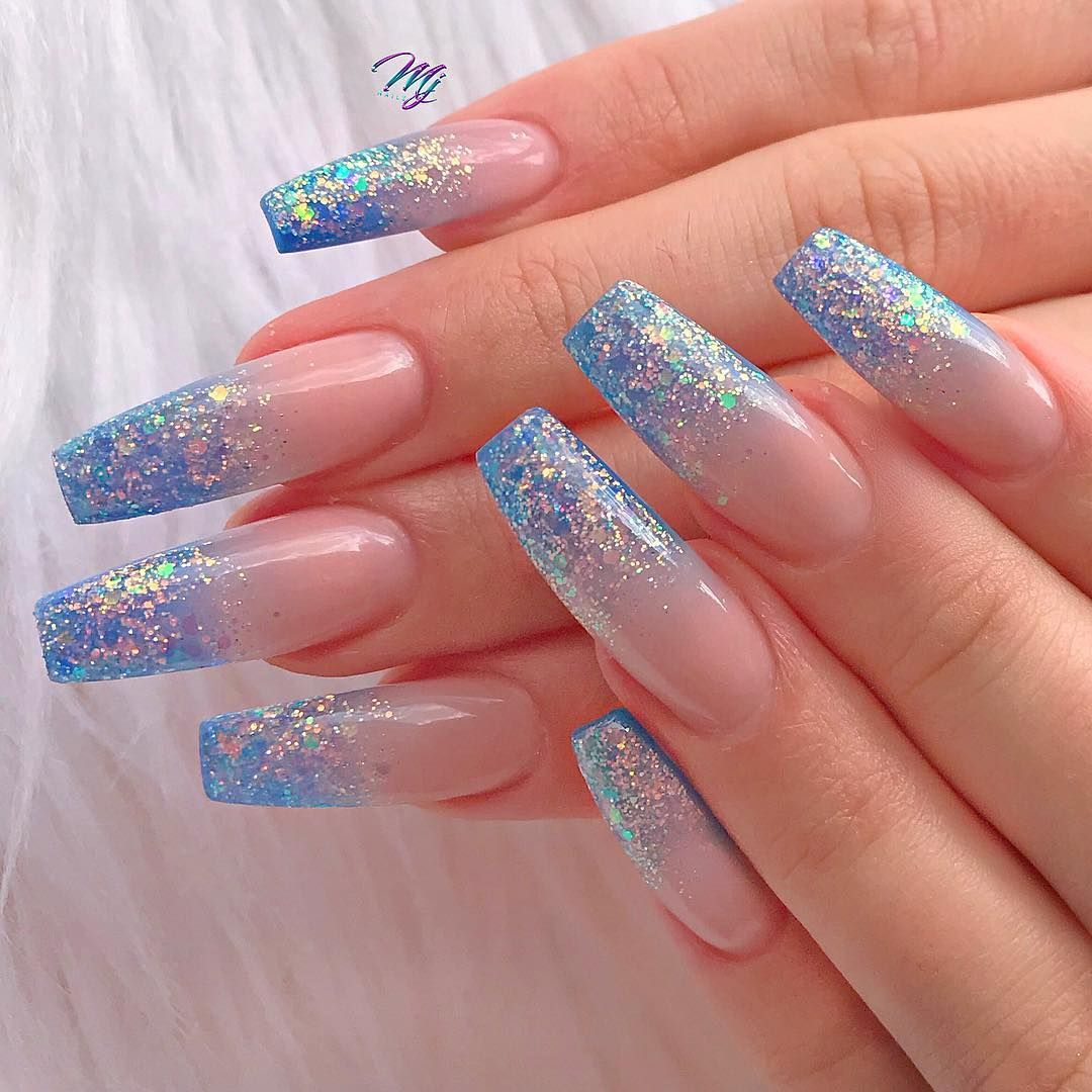 You Can Never Cross The Ocean Unless You Have The Courage To Lose Sight Of Shore Blue Glitter Nails Blue Acrylic Nails Nail Designs Glitter