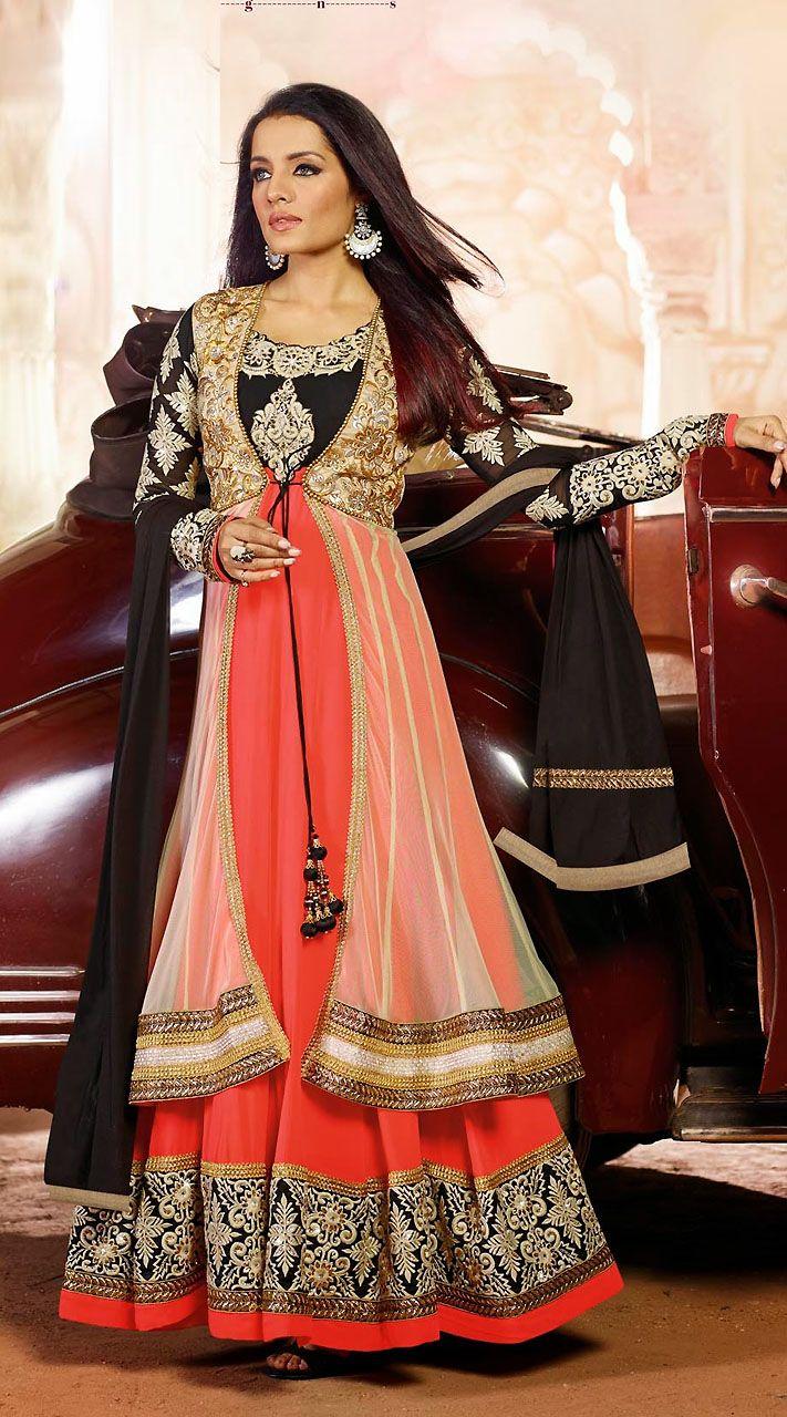 Celina jaitly coral long jacket style bollywood salwar kameez