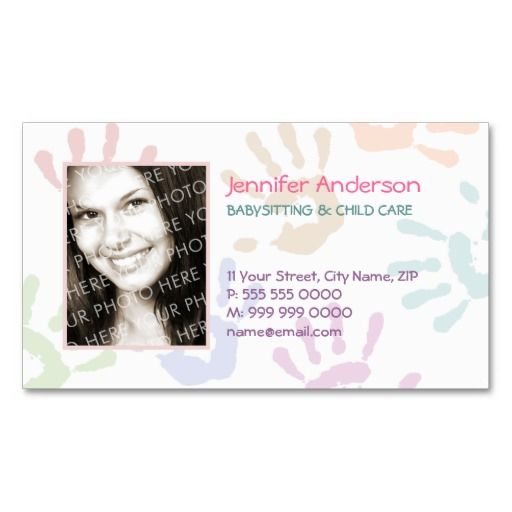 Babysitter Nanny Photo Personalized Teacher Business Card Zazzle Com Childcare Business Cards Teacher Business Cards Personal Business Cards