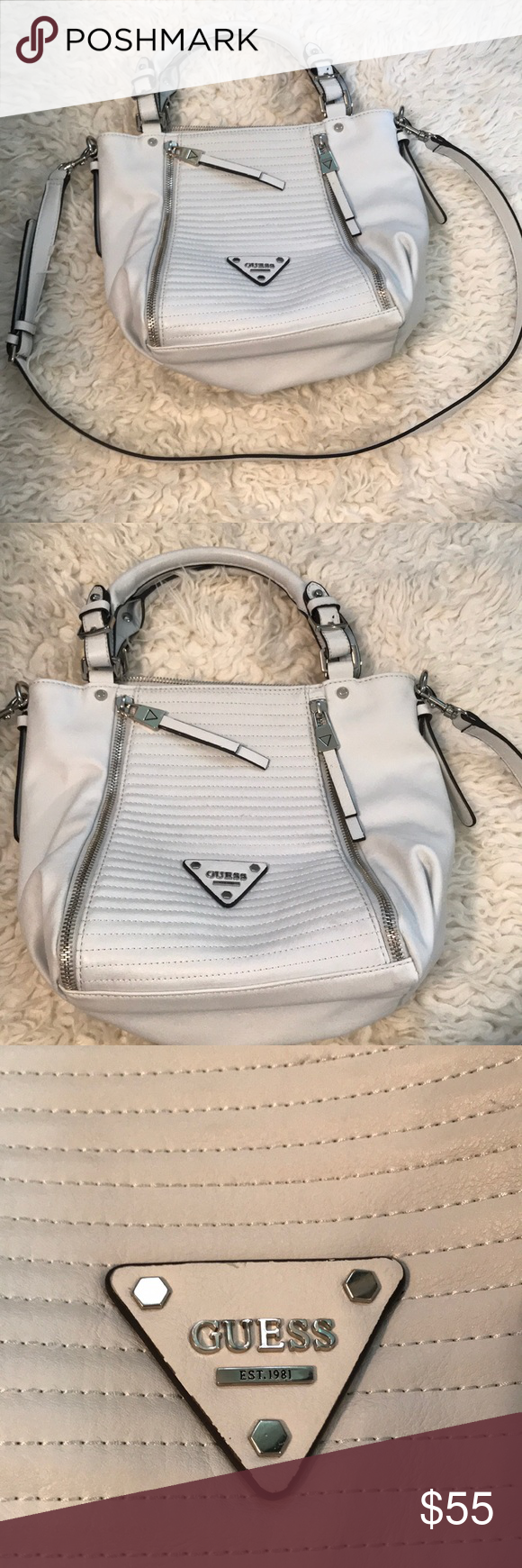White Guess Purse White Guess Purse Comes With Crossbody Strap Front Zipper  Pockets Are For Show They Unzip But Have No Pocket Like Brand New Used  Twice ... f3fbc2caec