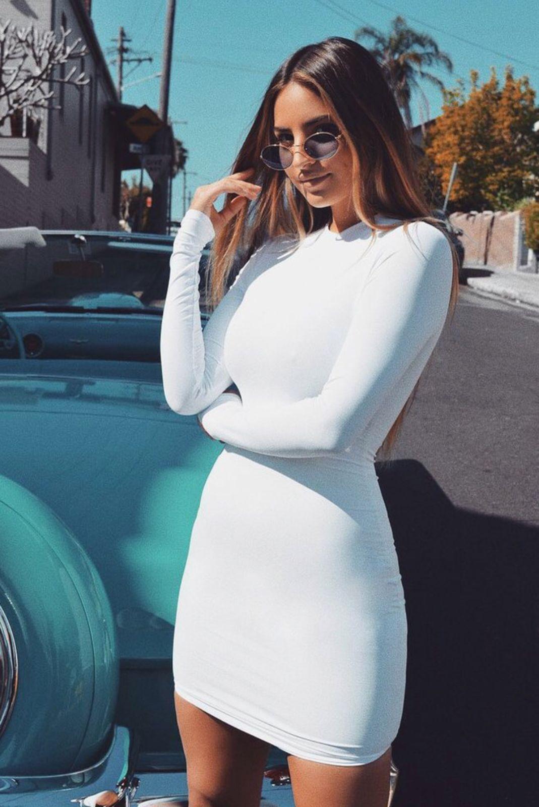 Meshki Kylie Long Sleeve Dress White 44 Tight Long Sleeve Dress White Long Sleeve Dress White Tight Dresses [ 1600 x 1069 Pixel ]
