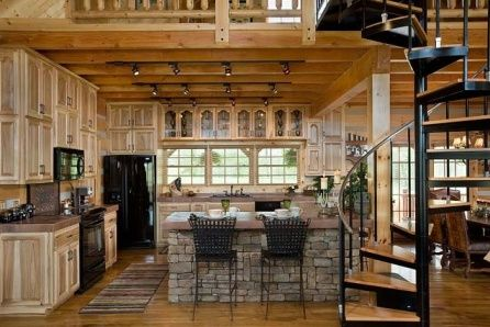 Log Home Decorating Inspirations; love the stone work on the island ...
