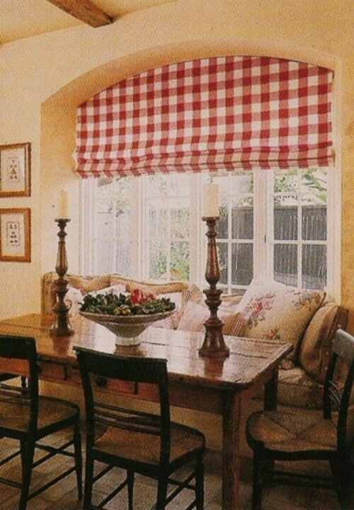 Red plaid Roman shade in 2019 | French country decorating ...