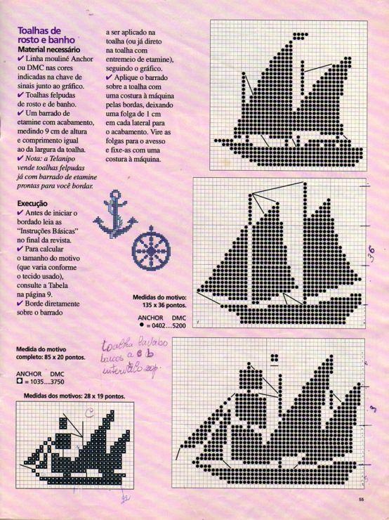 Maritim Hakeln Nautic Marina Sea Filet Crochet Stickmuster Hakeln Muster Und Kreuzstich