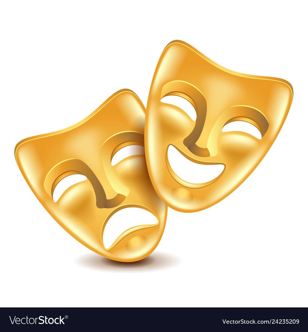 Theatre Masks Isolated On White Royalty Free Vector Image Theatre Masks Vector Illustration Vector Images