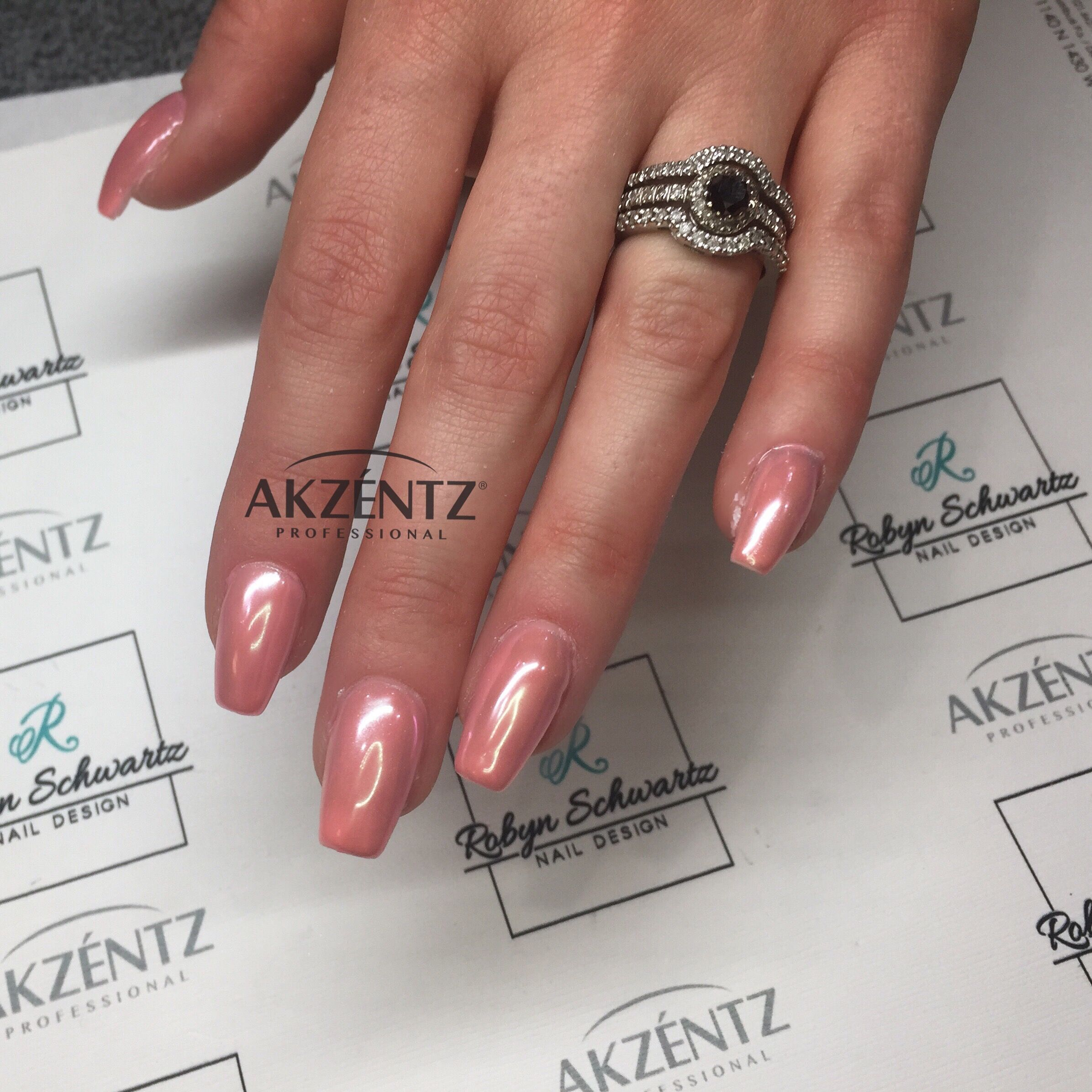 Soft apricot with opal chrome, coffin gel nails | Nail Art ...