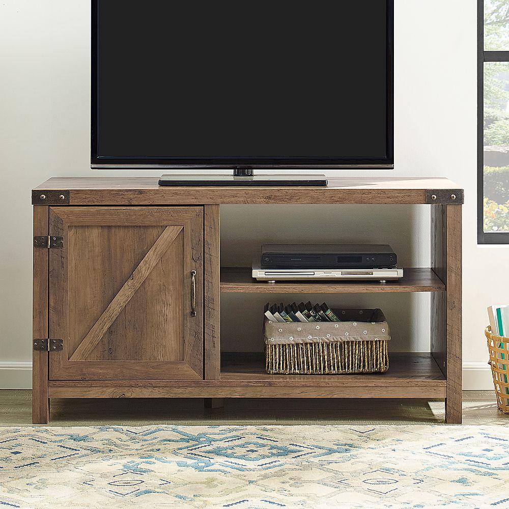 Walker Edison Rustic Barndoor TV for Most Flat