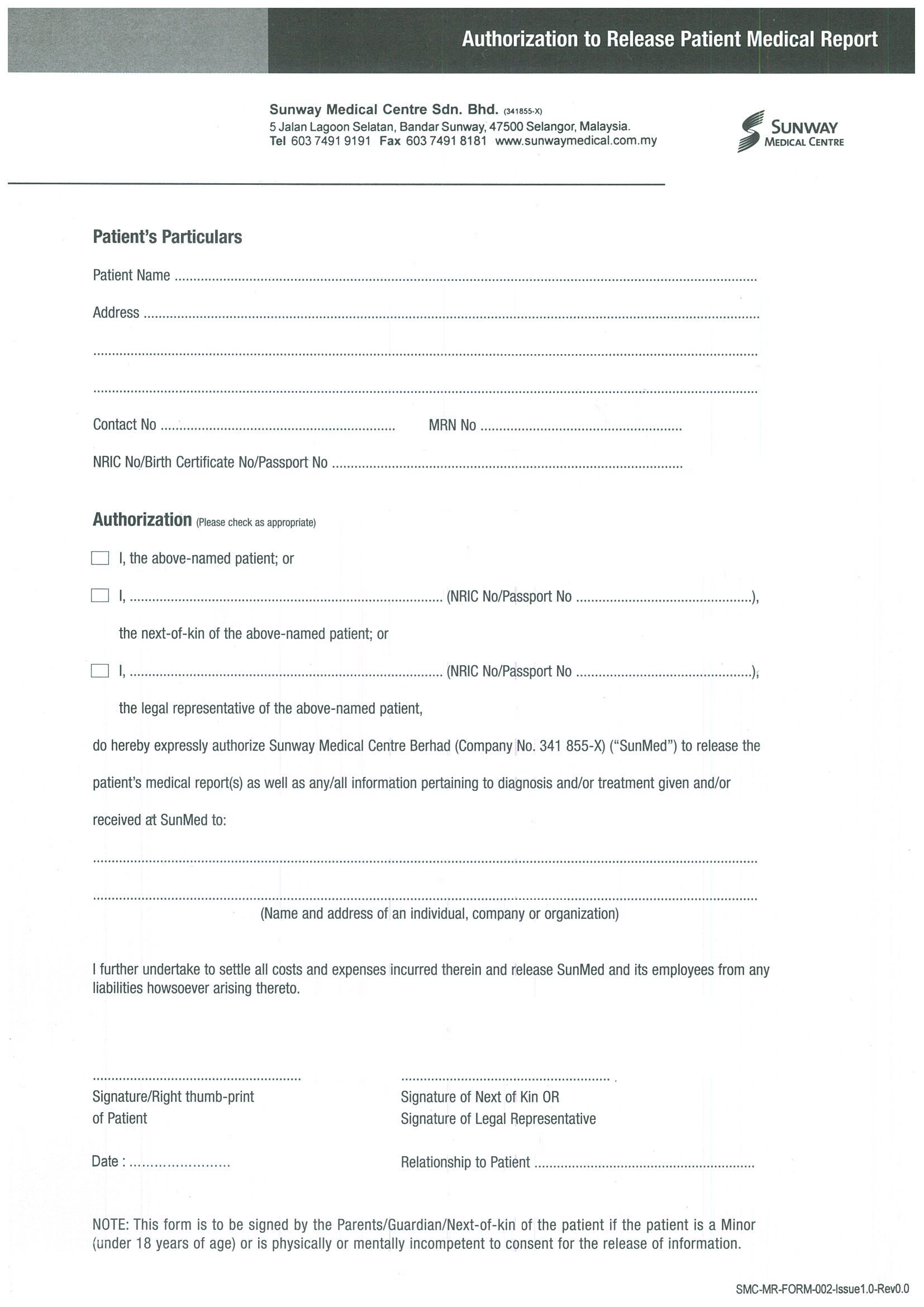 Request For Medical Report Sunway Centre You May Download The
