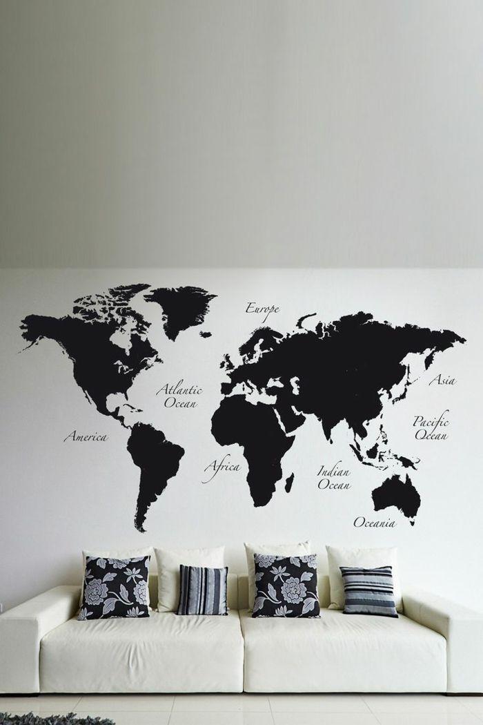 weltkarte wand wandmalerei wohnzimmer schwarz weiß - bilder wohnzimmer schwarz weiss