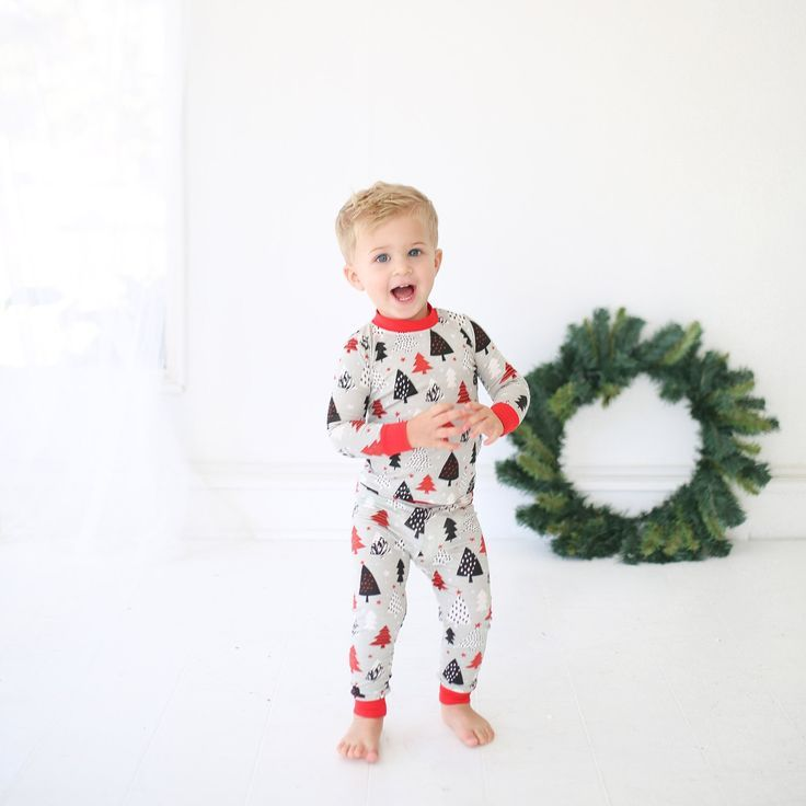 Christmas Trees Two-Piece Baby   Toddler Bamboo Pajama Set ... f735e33d8