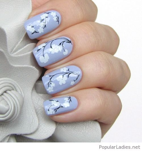 Light purple nails with white flowers - Light Purple Nails With White Flowers PopularLadies.net