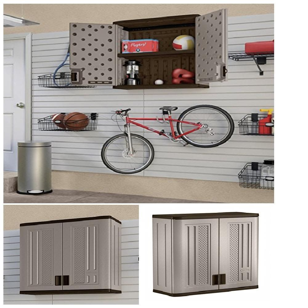 Wall Storage Cabinet Double Wall Resin Construction Holds Up 75lb Lockable Doors Suncast Wall Storage Cabinets Storage Cabinet