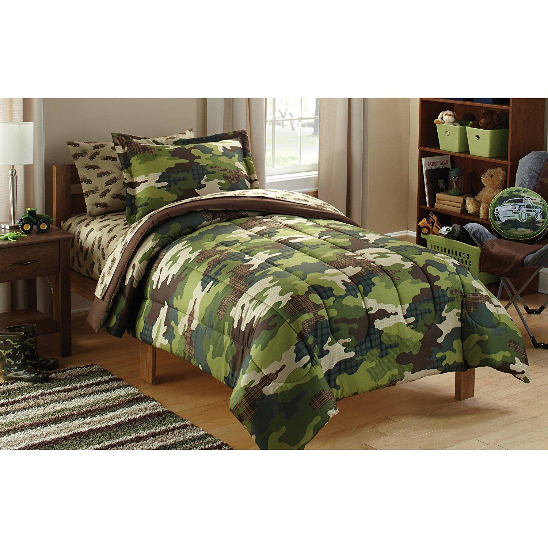 Boys Green Camouflage Theme Comforter Twin Set Beutiful