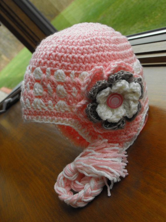 Girl\'s Pink White Taupe Earflap Hat | haken | Pinterest | Gehäkelte ...