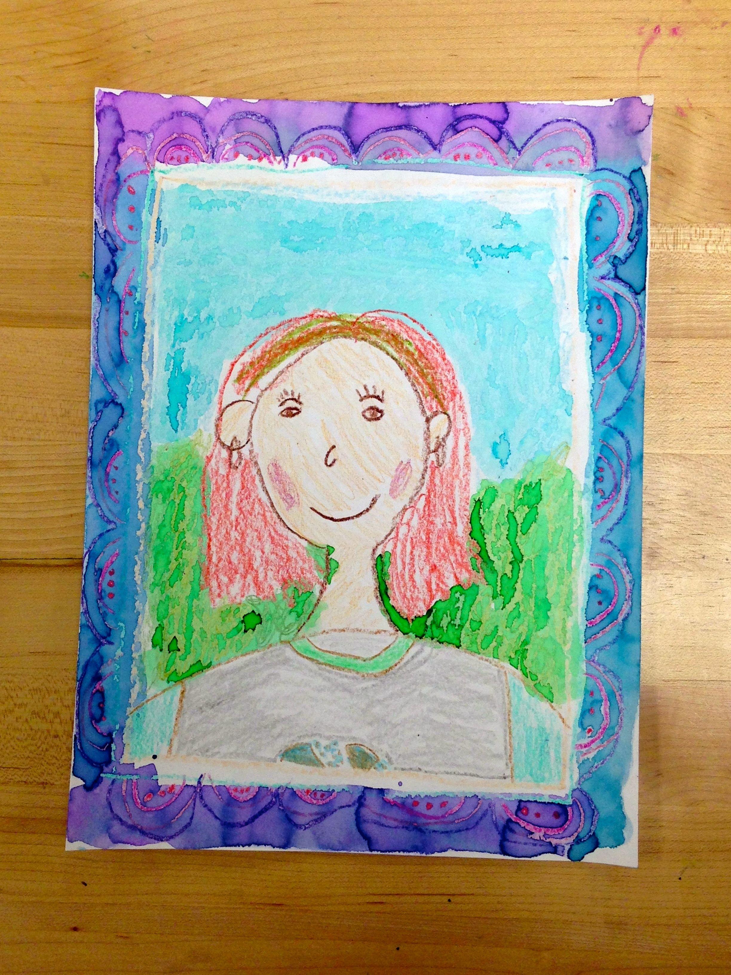Draw a Person. Grade 2. Crayon and liquid watercolor.