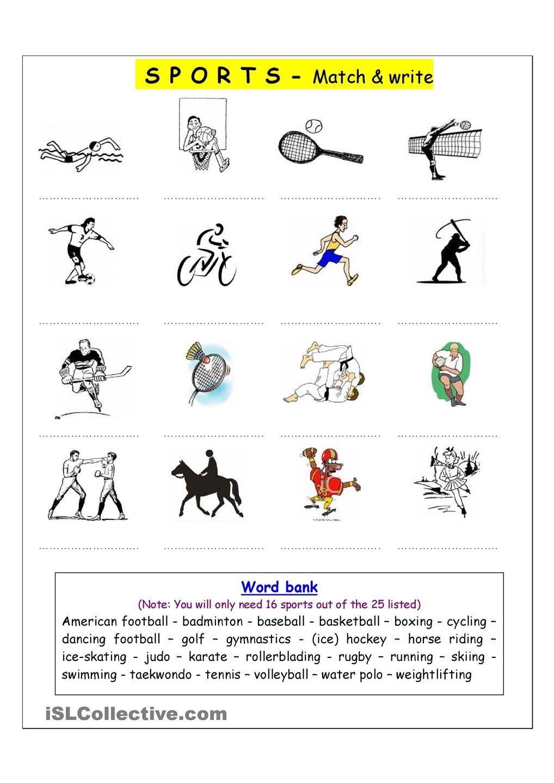vocabulary matching worksheet sports english language esl efl learn english vocabulary. Black Bedroom Furniture Sets. Home Design Ideas