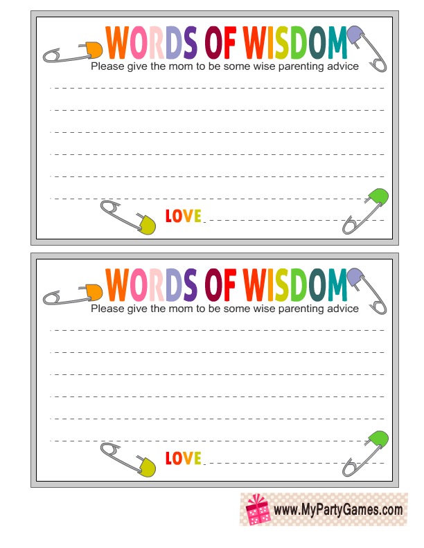Free Printable Words Of Wisdom Cards Free Baby Shower Printables Free Printable Baby Shower Games Words Of Wisdom