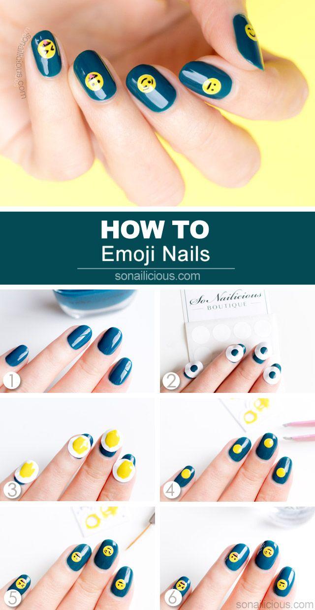Emoji Nails - Tutorial   Diseños de uñas, Arte uñas y Diseños de ...