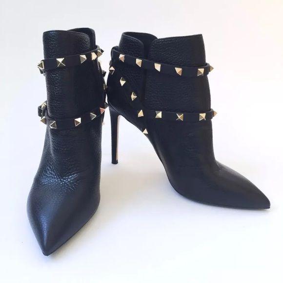 Valentino Woman Rockstud Pebbled-leather Ankle Boots Light Size 35 aSjAAVkI8R