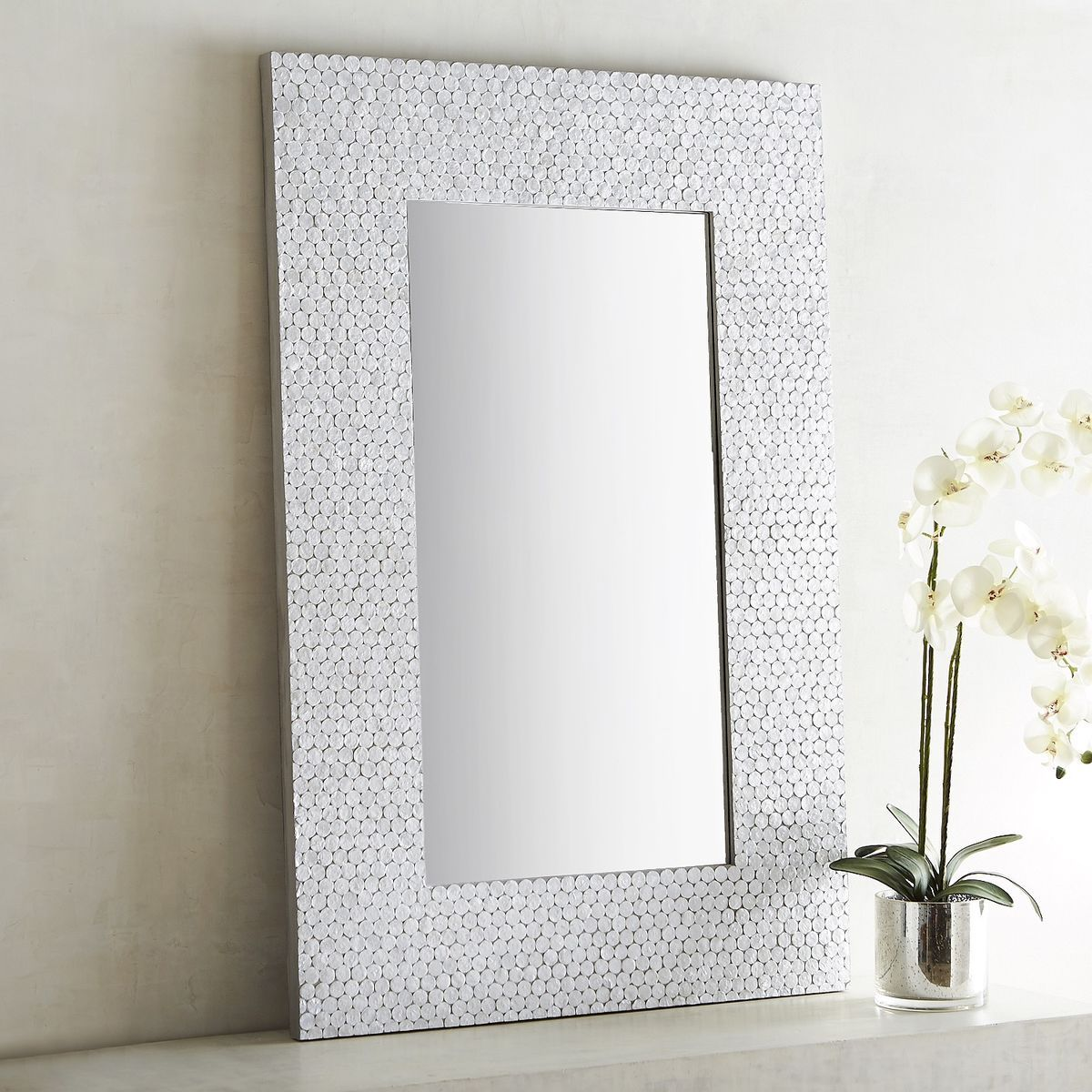32 X 48 Mirror Part - 45: Shimmer White Capiz 32x48 Mirror