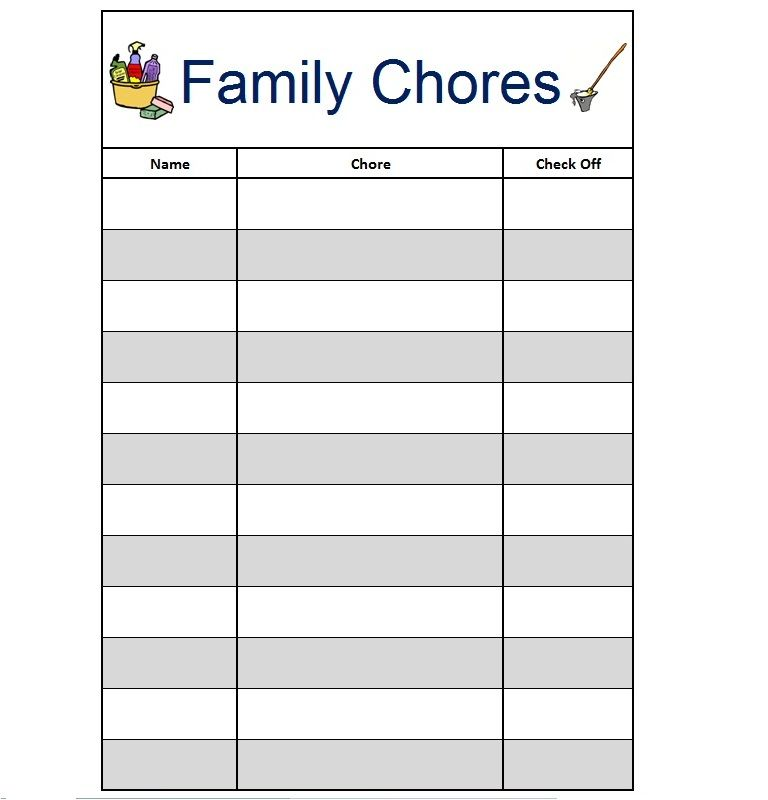 downloadable chore chart template