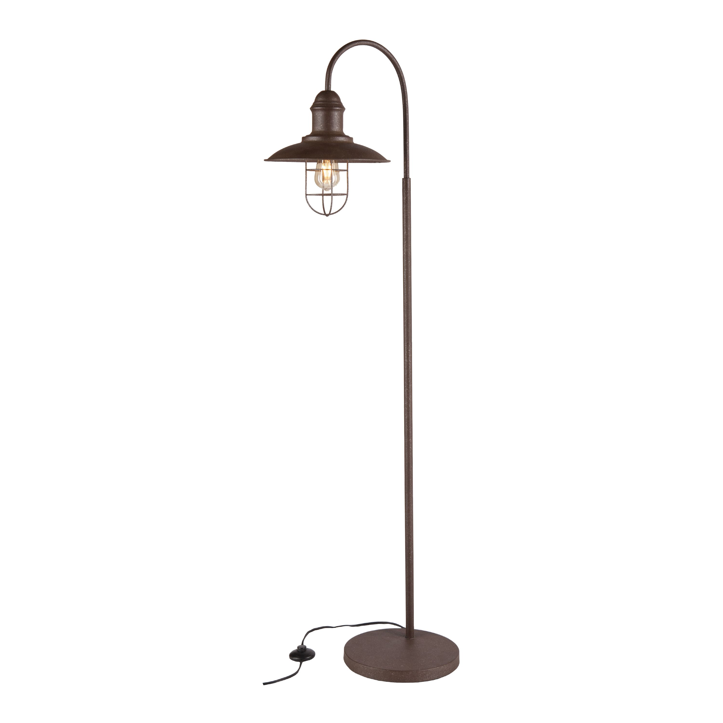 Palom LED Rustic Farmhouse Floor Lamp with Caged Bell