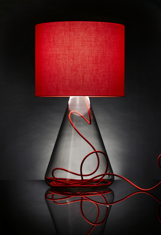 red colored modern transparent glass table lamps | Red lamp