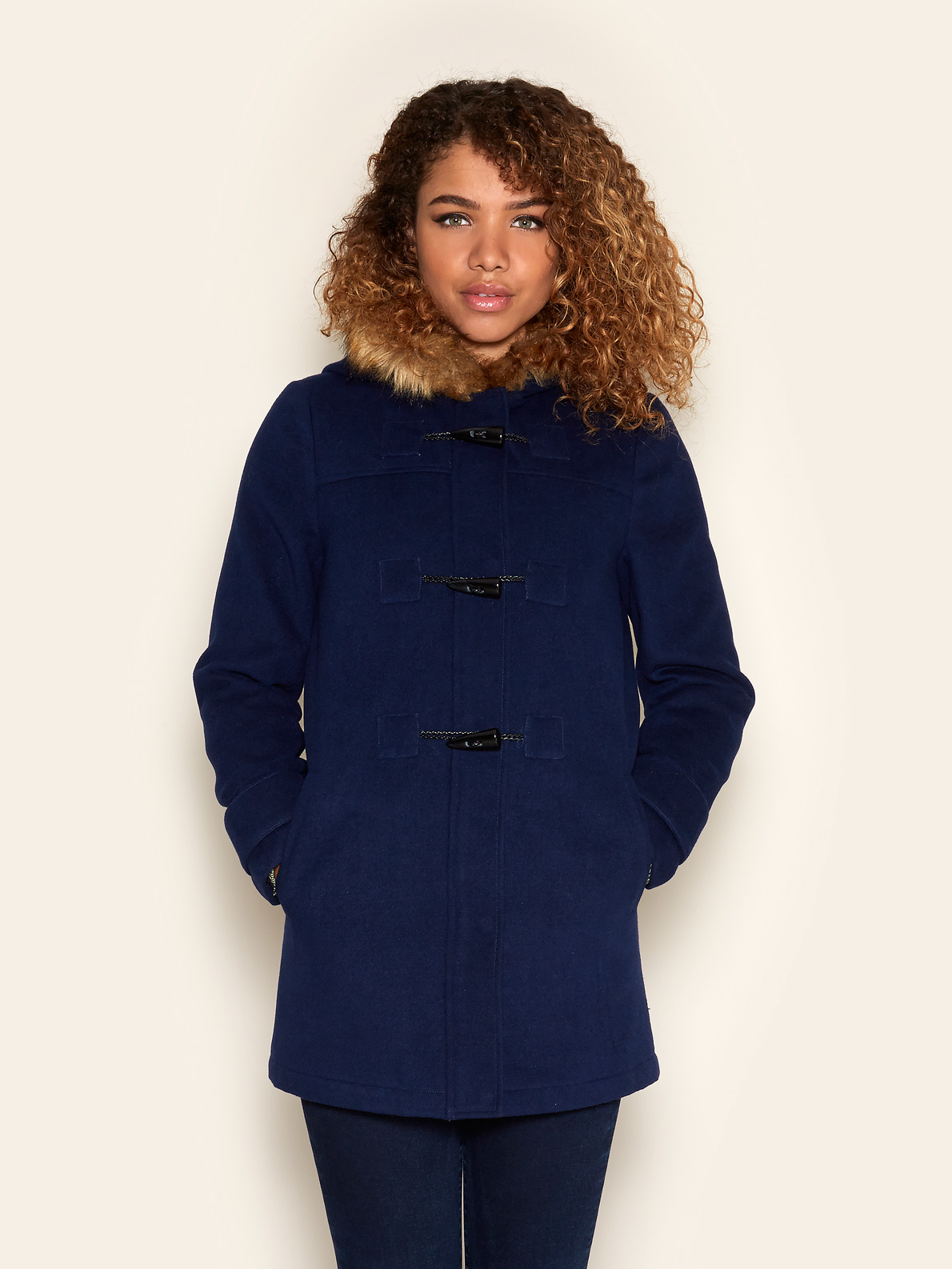 Faux Fur Hood Duffle Coat Navy | Yumi | Winter style | Pinterest ...