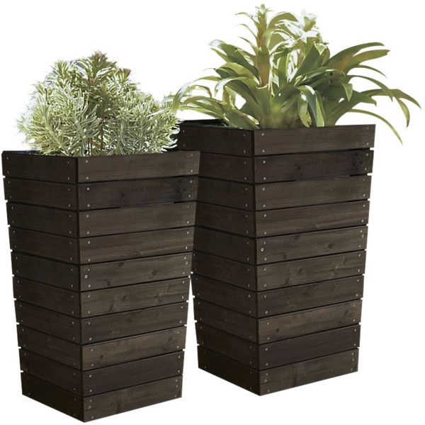 Coral Coast Dark Brown Stained Planter (590 CNY) ❤ liked on Polyvore featuring home, outdoors, outdoor decor, flowers, plants, outdoor, decor, greenery, outdoor garden decor and outdoor flower planters