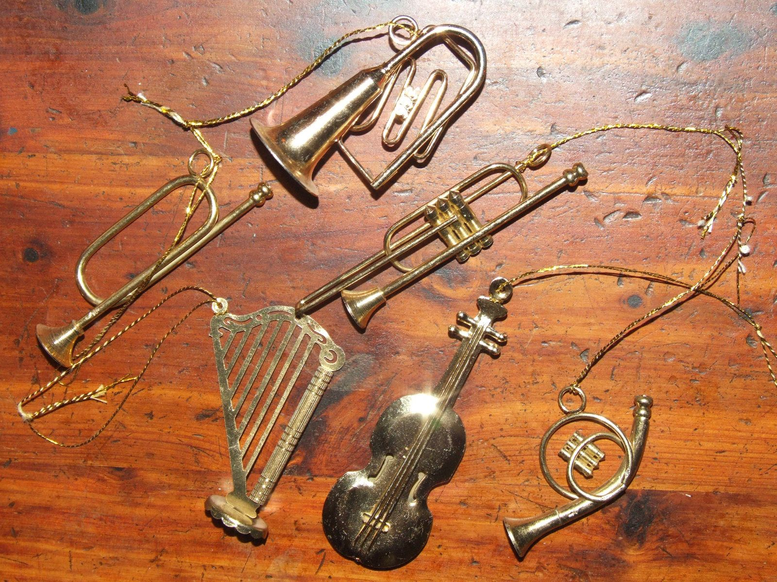 Vintage 70S Brass Musical Instruments Christmas Tree Ornaments Set Of