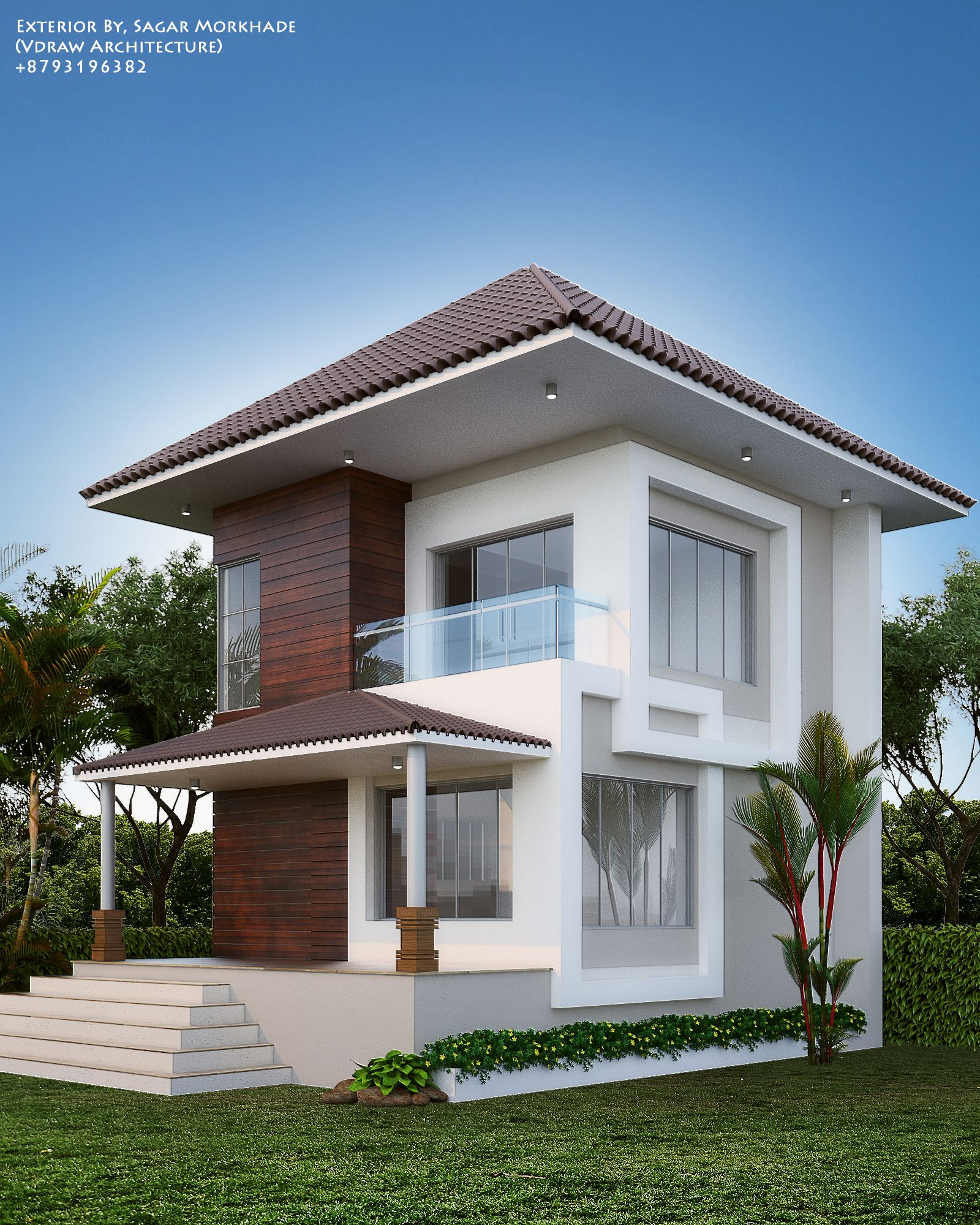 1 464 Small Modern Exterior Home Design Ideas Remodel Pictures: #Modern #Residential #House #bungalow #Exterior By, Ar.Sagar Morkhade (Vdraw Architecture) +91
