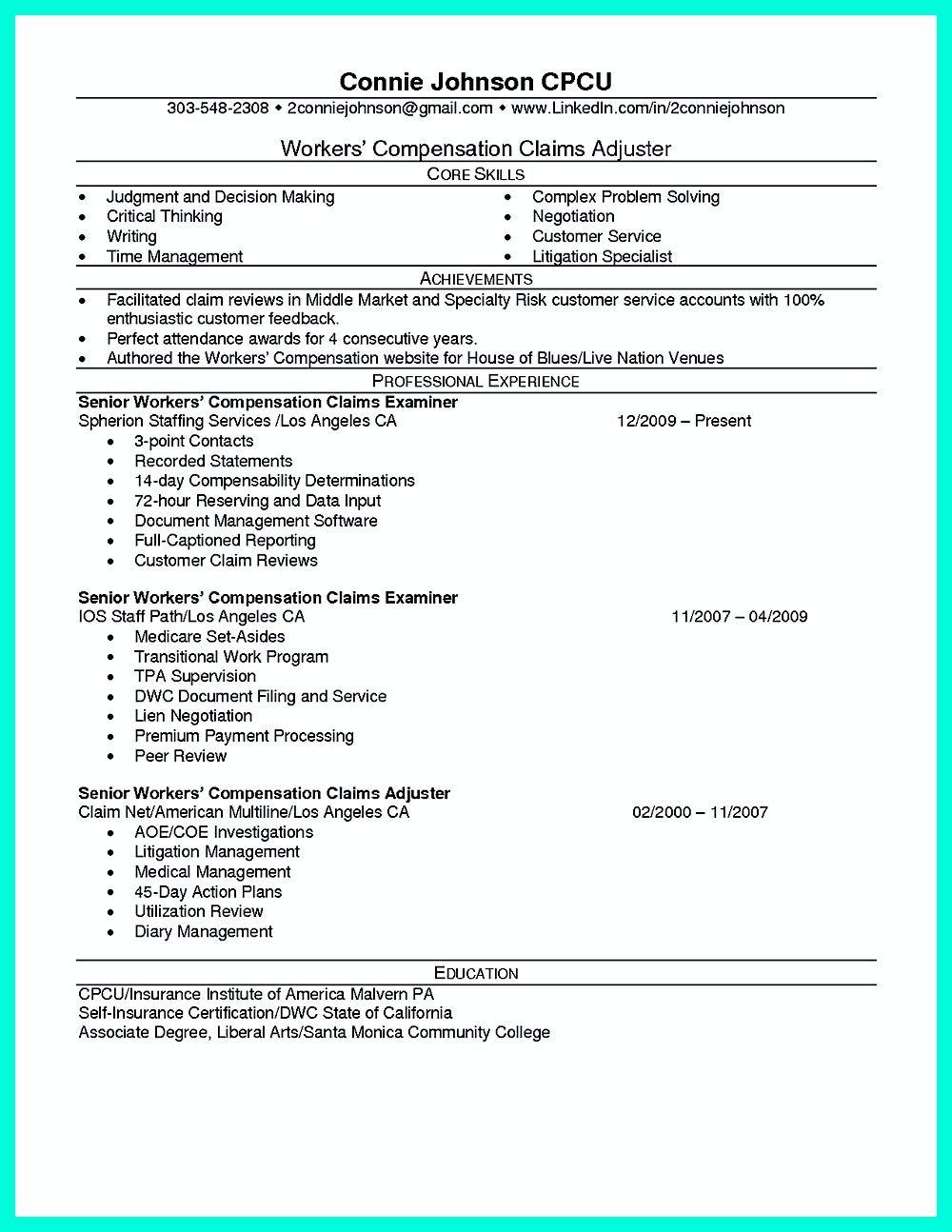 public adjuster resume sample