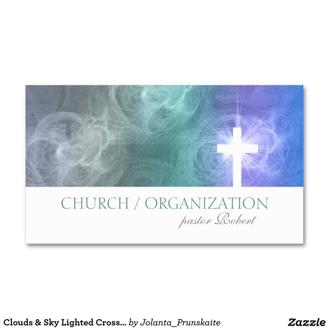 Clouds & Sky Lighted Cross Religious Business Card | Business ...
