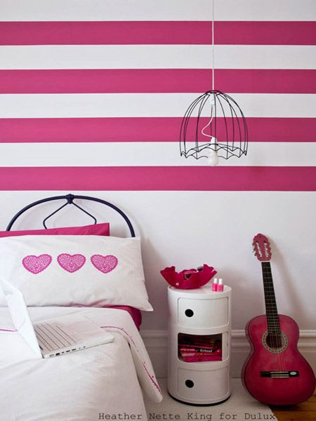 horizontal pink stripes and wire pendant | Dulex paint ideas for ...