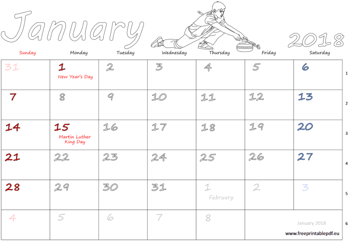 US and UK monthly calendars printable. January 2018 and other months.