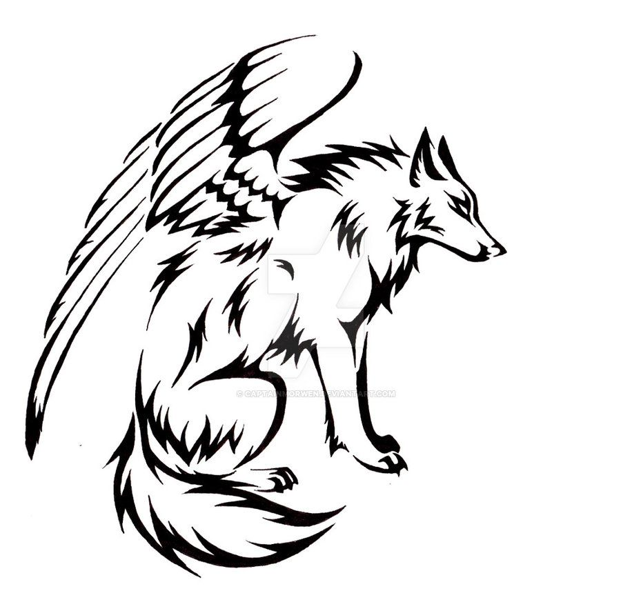tattoo commission for morelia921 of a winged tribal wolf with the