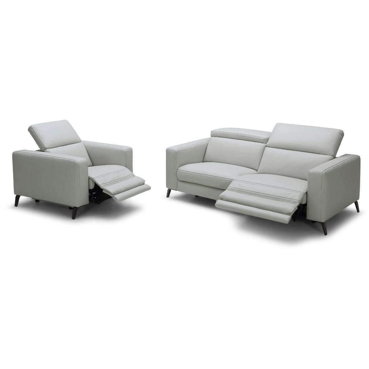 Awesome Divani Casa Roslyn Modern Grey Leather Sofa Set W Recliners Gmtry Best Dining Table And Chair Ideas Images Gmtryco