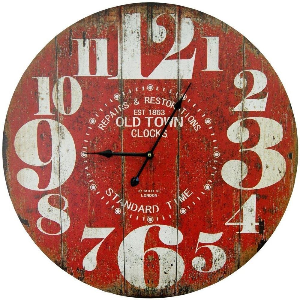 Vintage Wall Clock Rustic Red Weathered Antique Look 23 Round Wood Face Large Rustic Wall Clocks Red Wall Clock Oversized Wall Clock