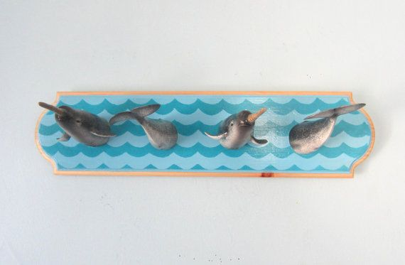 Upcycled Toy Wall Peg Rack With Narwhal Clothes Hooks Etsy Clothes Hooks Picture Hangers Peg